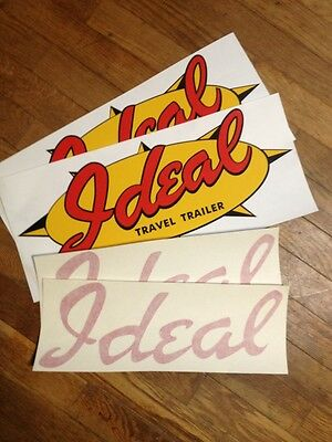 "Romantic Vintage trend Travel Trailer Decal Red, Yellow & Jet 18"" & 15"" Set of 4"