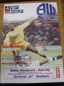 15-09-1998-Bolton-Wanderers-v-Hull-City-Football-League-Cup-Folded-Good-con