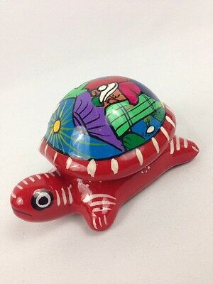 Hand Painted Turtle Lover Lid Trinket Jewelry Box Terracotta Clay Mexico 4