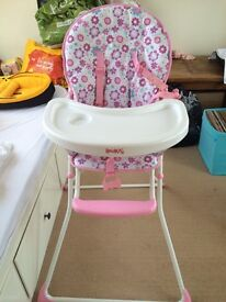 Pink girls high chair perfect condition