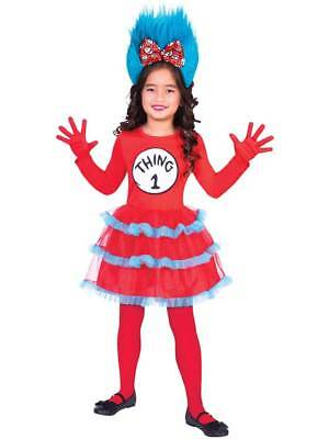 Cat In The Hat Costume For Girls (Kids Cat In The Hat Thing 1+2 Fancy Dress Costume Set Girls Dr Seuss Book)