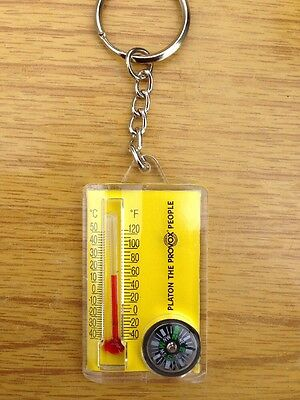 Thermometer/compass Plastic Keyring.camping/hiking