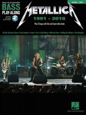 Metallica: 1991-2016 Sheet Music Bass Play-Along Book and Audio NEW 000234339