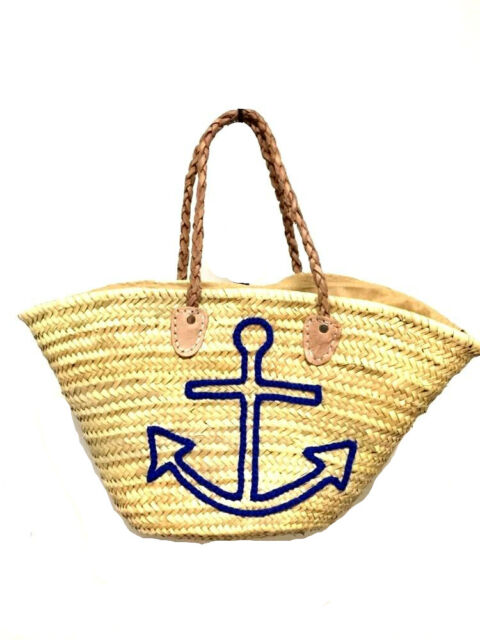Straw Shopping French Market Basket Beach Bag Large Moroccan Tote ...