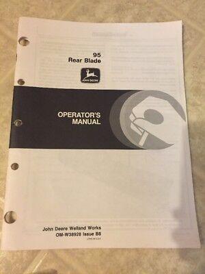 John Deere Tractor 95 Rear Blade Operators Manual