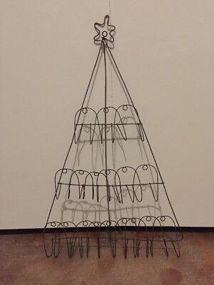 """Old-World Rustic / Primitive Metal Wire Christmas Tree with Star Card Holder 26"""""""