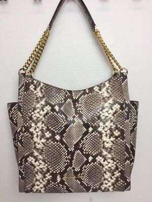 NWT MICHAEL Michael Kors Newbury Studded Snake Embossed Leather Tote Bag $398