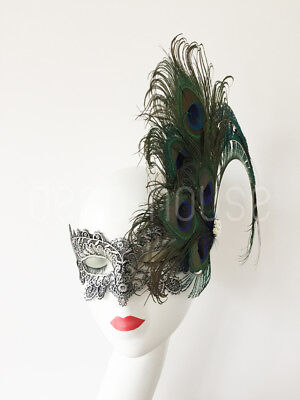 Gothic Sexy Lace Peacock Feather Mask Metallic Masquerade Ball Halloween Party