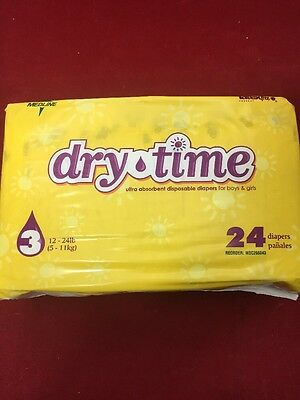 NEW PACK OF 24 MEDLINE Dry Time Diapers Size 3 Medium 12-24lbs (Dry Time Baby Diapers)
