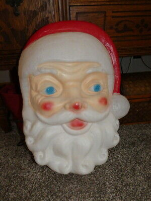 """Vintage Christmas Empire Plastic Blow Mold Santa Claus Face Lighted 24"""""""