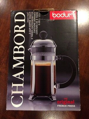 NEW Bodum Chambord. 3 Cup Coffee Maker 0.35L / 12oz
