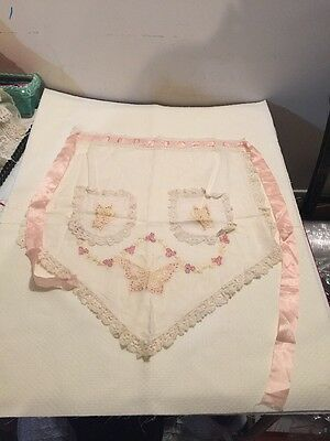ANTIQUE Victorian RIBBON-WORK White Linen embroidery LACE trim APRON Butterfly