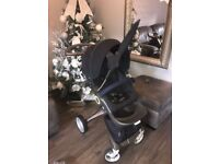 Stokke Xplory Dark Navy Pushchair and Carrycot