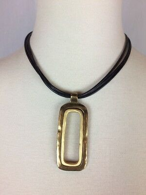 "16-20"" Long CHICOS Brown Leather 3-Strand Bronze Tone Pendant Necklace Signed"