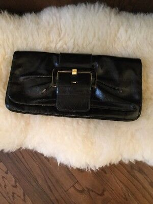 Ted Baker CRINKLE BLACK  Patent Leather  Womens Clutch BUCKLE FLAP