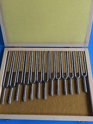 Chromatic Tuning Fork Set Of 13 W Long Handles With Velvet Pouch Usa Seller