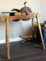 Antique Spin-Well Hand Crank Wool Carder