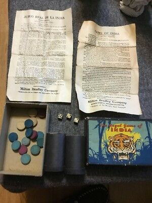 Vintage 1932 Milton Bradley Royal Game Of India Mini Dice Canisters Instructions