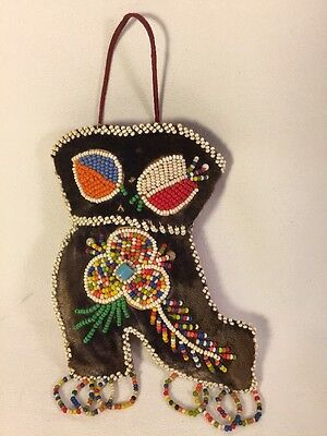 "Antique Vintage Mohawk Indian 5"" Beaded Boot Pin Cushion Decorative Shoe"