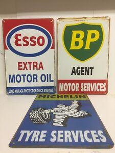 Michelin-BP-Esso Triple Big Vintage Retro Metal Sign Garage Bar 30x40cm each