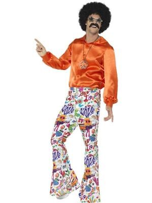 60's Hippie Groovy Flared Trousers Costume Pants Mens Bell Bottom White MD-XL (60s Men Costume)