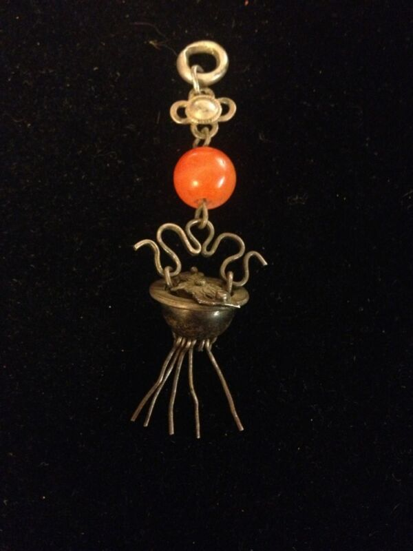 Antique Asian Ornate Carnelian Silver Basket Pendant With Fringe!