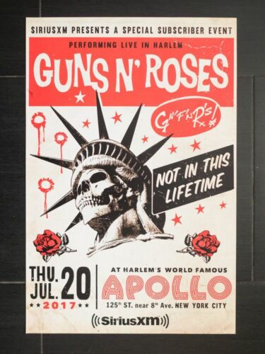 guns n roses poster for sirus show at apollo theater original 12 x 18 inches