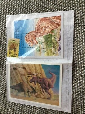 2 X Blocks And One Loose Stamp Angola Dinosaurs