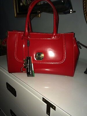 A Bellucci Red Patent Leather Handbag Satchel