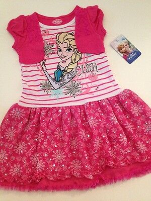 Pink Dress For Girl (Disney Frozen Girl Elsa Tunic Tutu Dress Hot Pink Size 4 5 6 6X Faux Shrug)