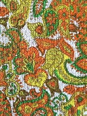 1960s UNUSED VINTAGE COTTON  TOWELLING FABRIC. FAB PSYCHEDELIC FLOWER DESIGN
