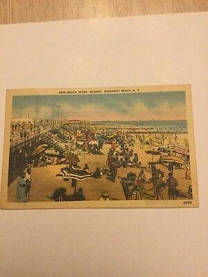 Seaside Rocks - Old Postcard 1945 Seaside Beach Rock away Beach New York Antique Rare