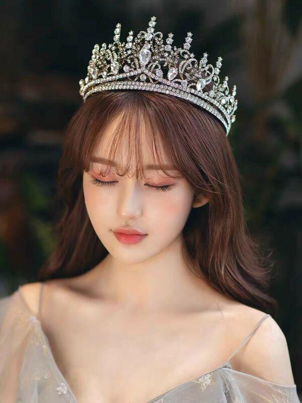 Gold Rhinestone Crown Headband Wedding Bride Princess Queen Hair Tiara