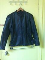 Veste en cuir véritable motorcycle python heather grandeur 14