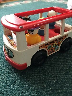 Vintage 1969 ~ Fisher Price Little People Mini Bus ~ FP-141 White & Red ~ VG!!