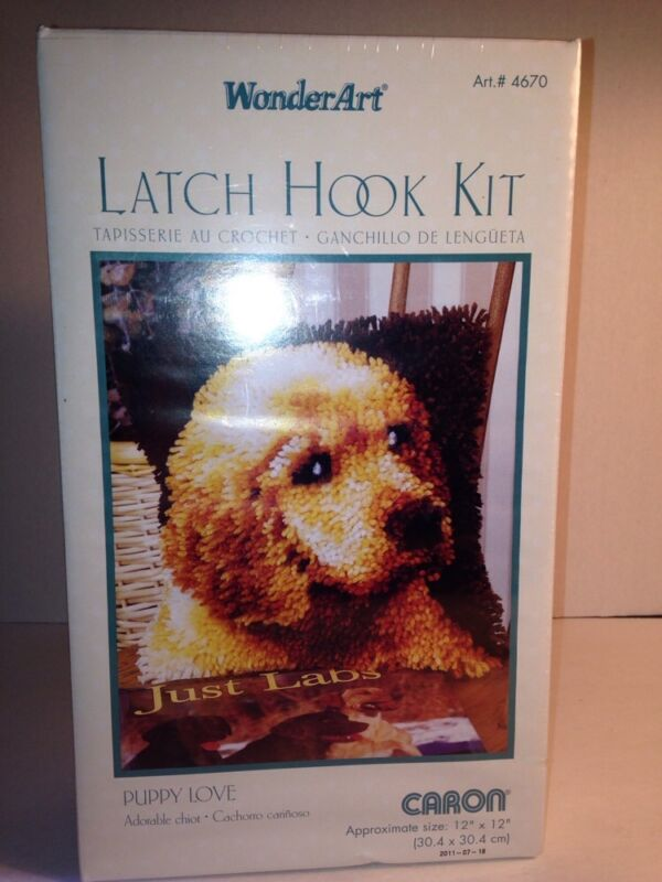 CARON WONDER ART LATCH HOOK KIT PUPPY LOVE NEW FACTORY SEALED #4670