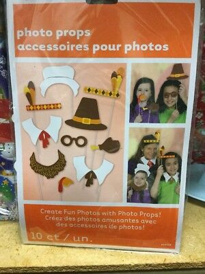 Thanksgiving Photo Props (Thanksgiving Photo Booth Props Set of 10 Holiday Party  - Create Fun)