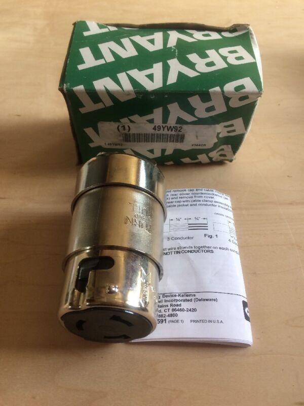 BRYANT Brass Locking Connector,Silver,125/250VAC,50A, 6364CR