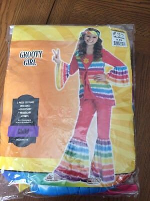Groovy Hippie Girl Costume 70's Flower Child Child's Size Medium 8-10 - Childs Hippie Costume