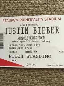 Justin Bieber Tickets. 3x STANDING CARDIFF 30th JUNE