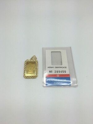 24K Yellow Gold Credit Suisse 2 5 Grams 999 9 Pendant With 14K Rope Chain