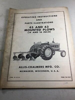Allis Chalmers Model 62 63 Plow Operators Manual Parts Illustrations Manual