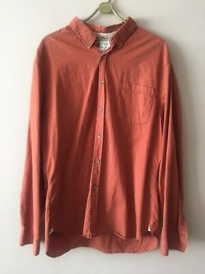 Utility-casual Shirt (RIVER ISLAND RUST ORANGE 100% COTTON BUTTON DOWN UTILITY CASUAL SHIRT SIZE XL)