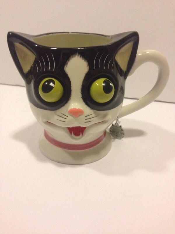 Department 56 Meow Kitty Kat Club Cat Mug cup ceramic googly eye Black White
