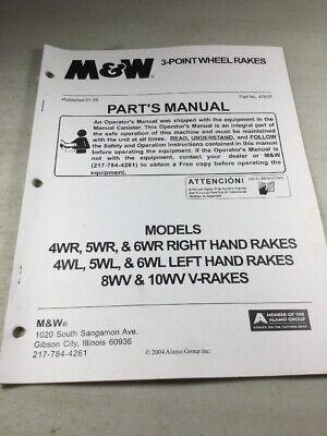 M W 3-point Wheel Rakes 4wr 5wr 6wr 4wl 5wl 6wl 8wv 10wv Parts Manual