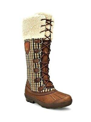 UGG Australia Edmonton Waterproof Chocolate Plaid Heritage Leather Boots 5 Women
