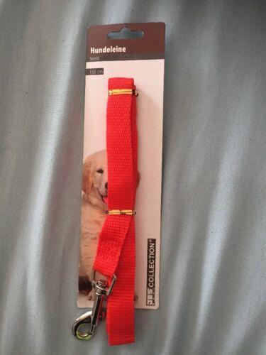 Hundeleine Rot Stoff Länge 165 cm mit Karabinerhaken bis max. 10kg OVP