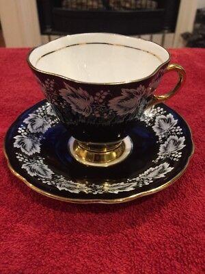 Windsor Black and white Bone china tea cup, Footed Gold Trim Handle, Rim Black And White China