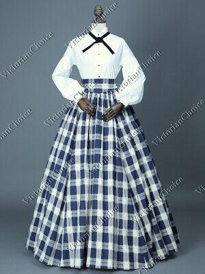 Victorian Country Maid Pioneer Women Dickens Plaid Dress Halloween Costume 314