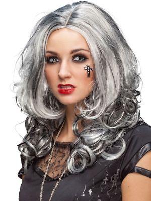 Orl - Damen Perücke grau-schwarz meliert Hexe Vampirin Halloween